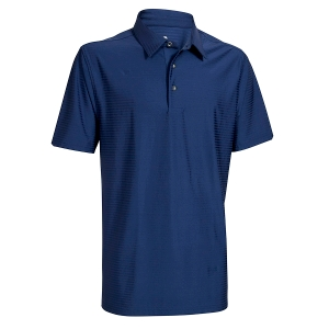 Mens Tone in Tone Striped Quick Dry Polo, Navy