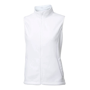 Ladies Zipneck Fleece Vest, White
